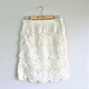 UO Staring at Stars ecru tiered cotton lace skirt